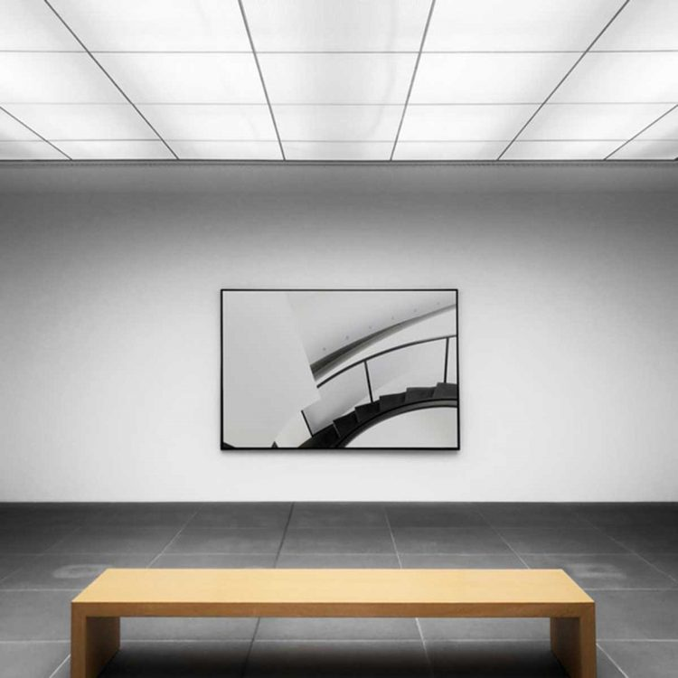 Backlit acoustic attached ceilings in an art gallery