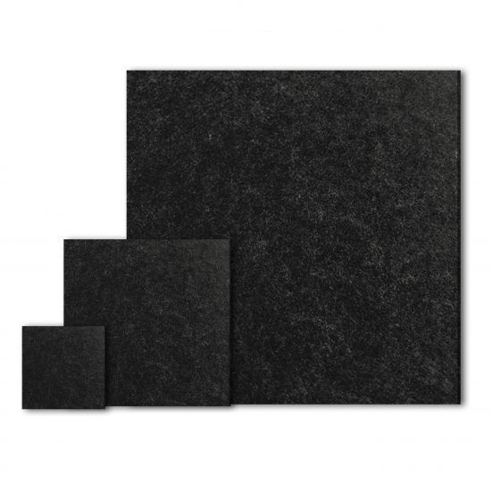 Dark PET acoustic panels in three different sizes